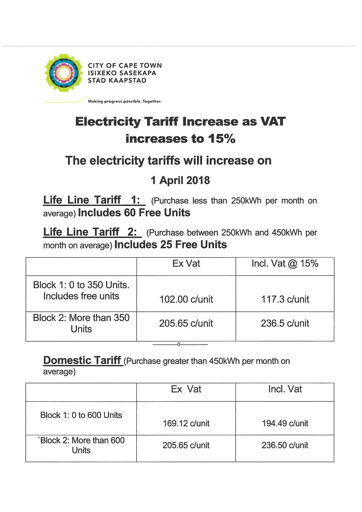Electrity Tariff 15 Vat Page 001